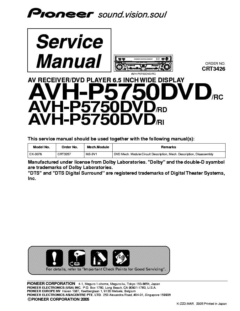 pioneer avh-p5000dvd service manual
