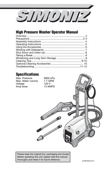 karcher professional pressure washer manual