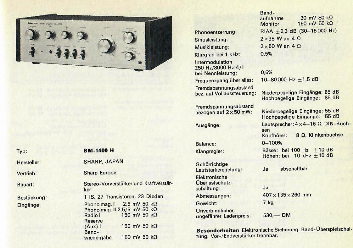 optonica sharp sm-1400 st 1400 amplifier tuner manual