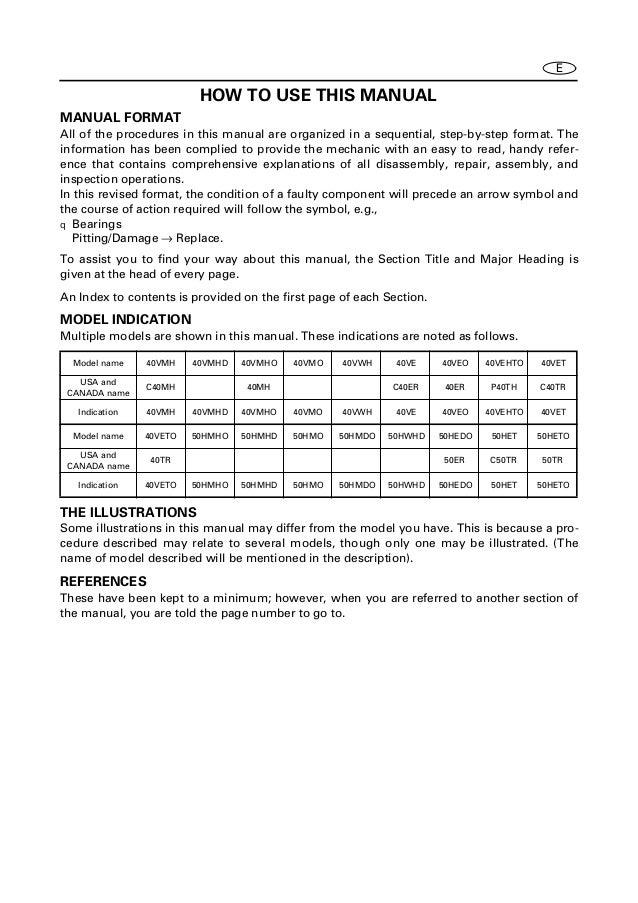yamaha 40 outboard service manual
