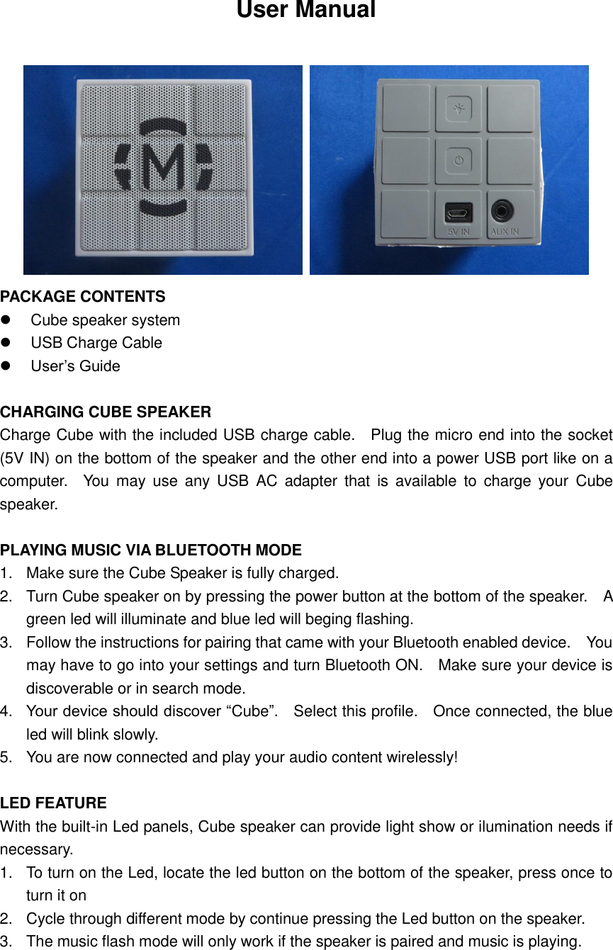 mobi cube bluetooth speaker manual