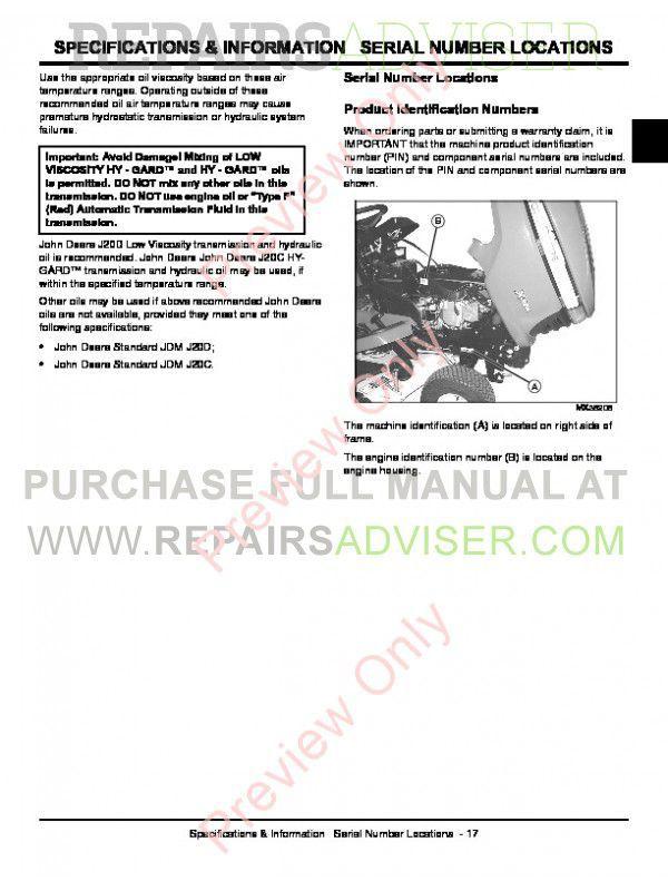 john deere technical manual for x300 john deere