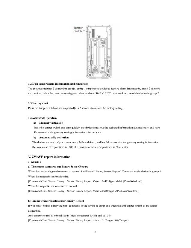activate zwave door sensor manually