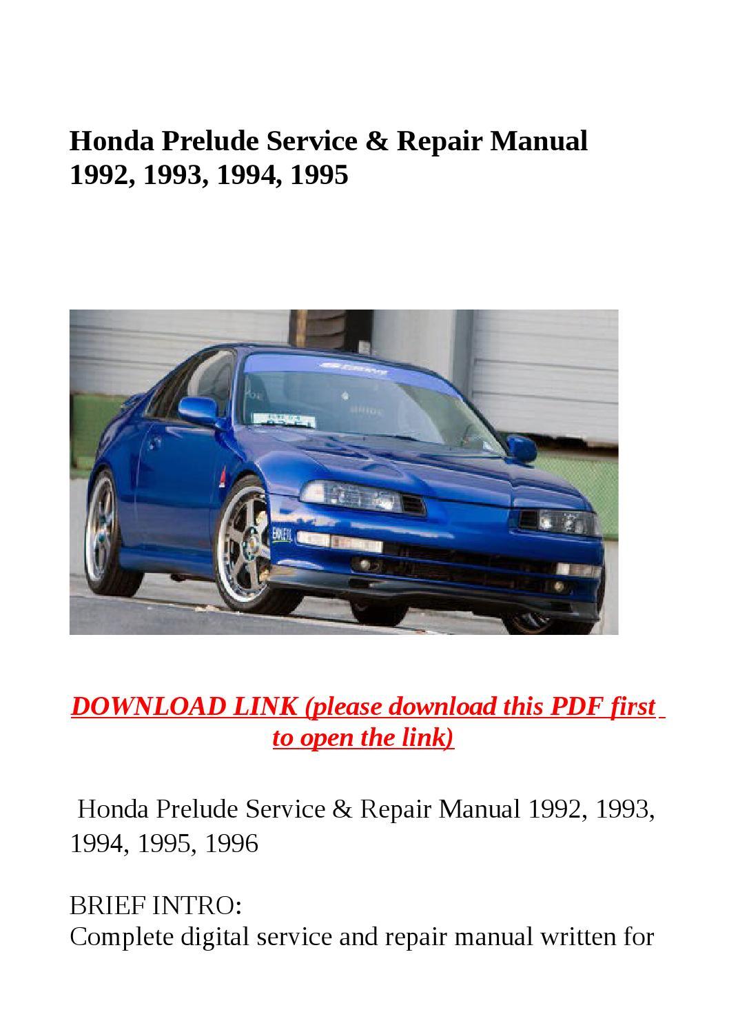 1995 honda prelude service manual pdf