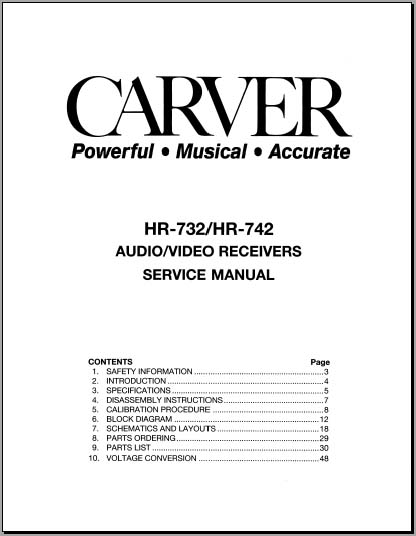 carver hr-732 service manual