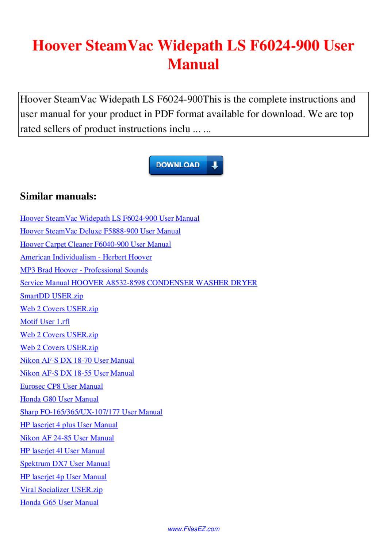 hoover steamvac f5907-950 manual