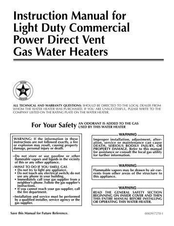 john wood water heater canadian manual