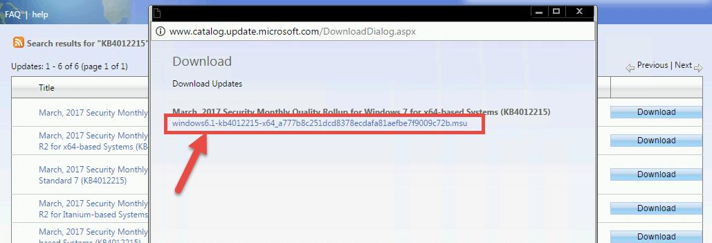 manual installation security update windows 7