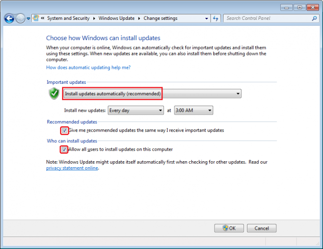 manual installation security update windows 7