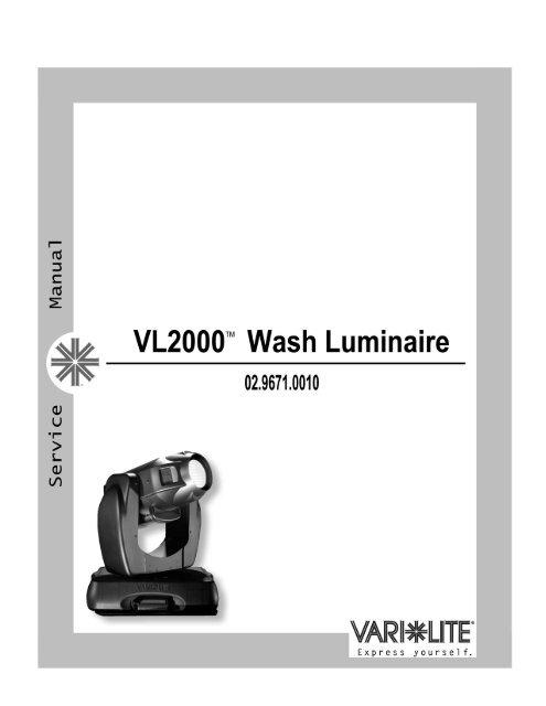 vari lite vl2000 service manual